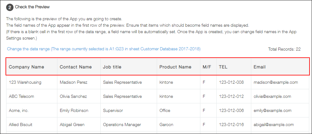 Creating an App from an Excel File - kintone Help