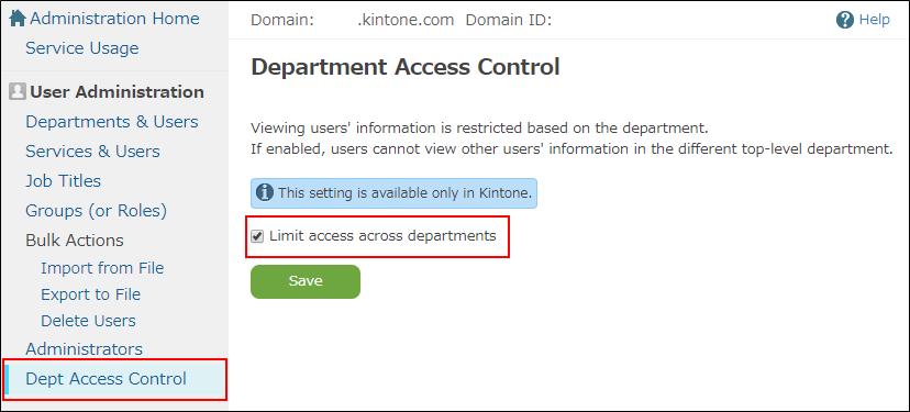 Configuring department access control